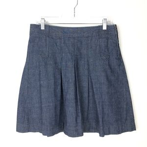 J Crew Denim Circle Skirt 6 Blue Chambray Skater